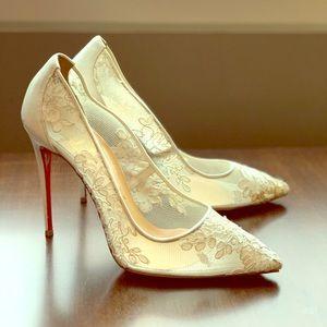 Christian Louboutin white lace follies